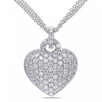 Collana d'argento in forma di cuore con zaffiri