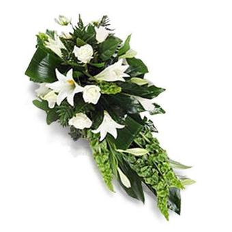 Composition Funéraire Blanche : Roses et Lys
