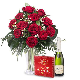 Wszystkiego Najlepszego: 12 róż, czekoladki i wino