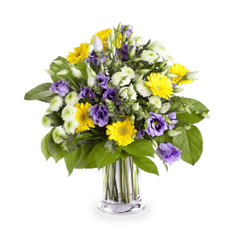 Purple Clouds: Lisianthus and Gerberas