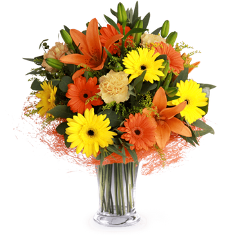 Sunset Smile: Lilies and Gerberas