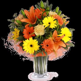 Lächeln zum Sonnenuntergang: Lilien und Gerbera