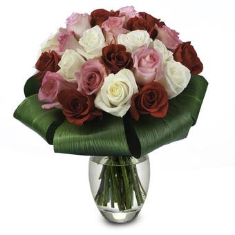 Trío de Rosas: rojas, rosas y blancas