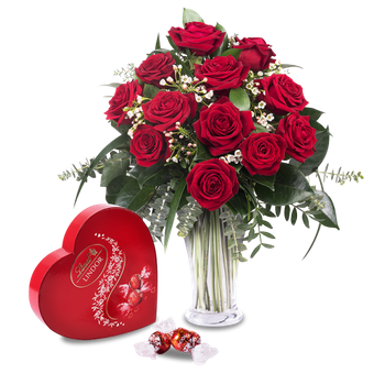 12 red roses and chocolates