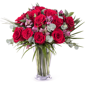 Charme et Romance : Roses et Alstromerias