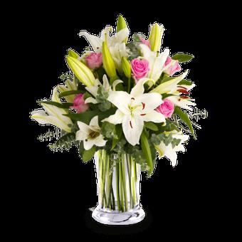 Traum in Pastell: Lilien und Rosen