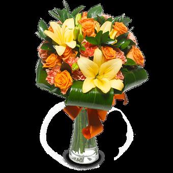 Tahitischer Traum: Orange Lilien und Rosen
