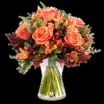 Zucca: Rose e Alstroemerie