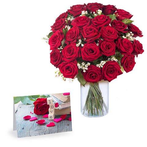 Beste Wünsche: 24 rote Rosen