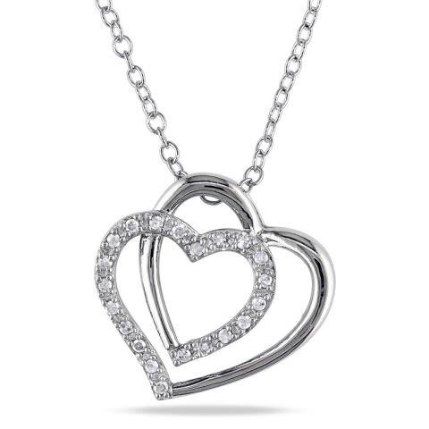 Collana 'doppio cuore' d'argento e diamanti