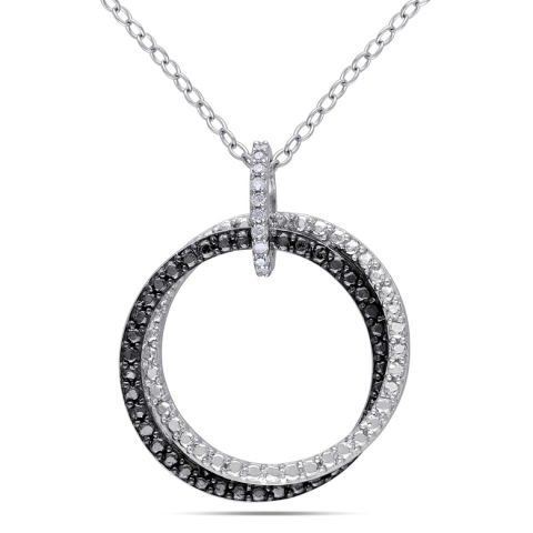 """Two Circles"" silver and black rhodium pendant"