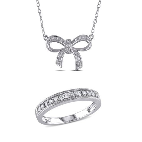Bow necklace and ring jewellery set