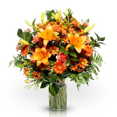 Orangene Lilien & Nelken + Pralinen GRATIS