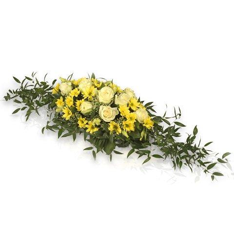 Trauergesteck in Gelb und Weiß