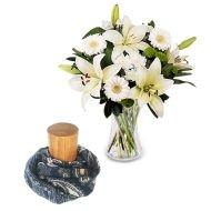 Elle est Unique : Bouquet de Lys Blancs et Foulard