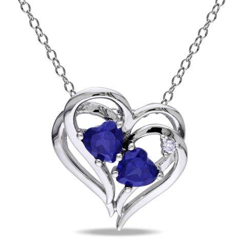 Srebrny naszyjnik z niebieskimi diamentami i szafirami
