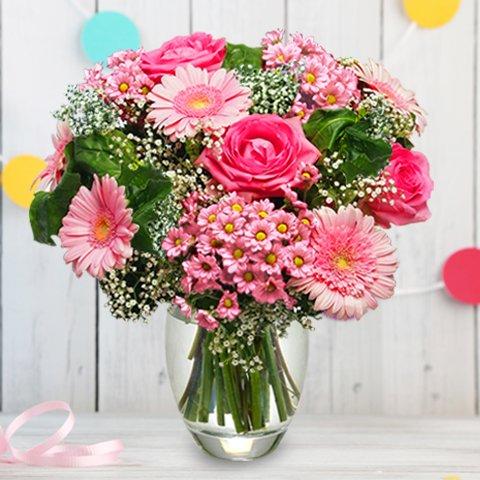 Rose Bonbon: roses et gerberas roses
