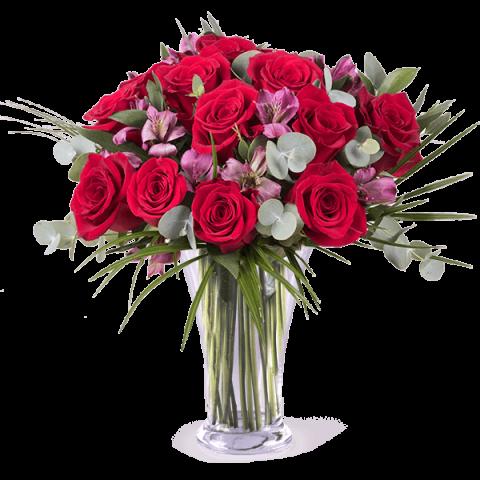 Trendig: Rosen und Alstromerien