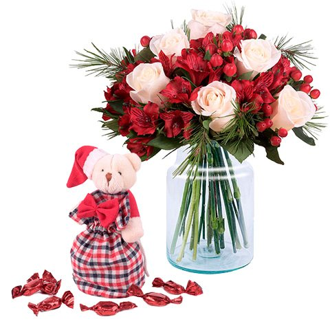 Świąteczny Wdzięk: Róże i Alstromerie
