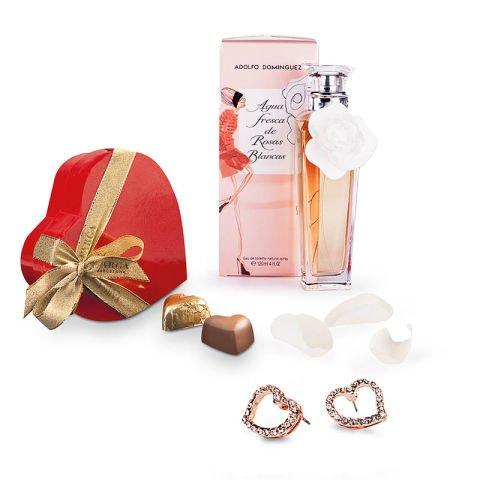 Süßes Herz: Parfüm, Schokolade, Ohrringe