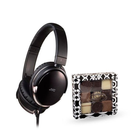 JVC Foldable headphones + Farga chocolates