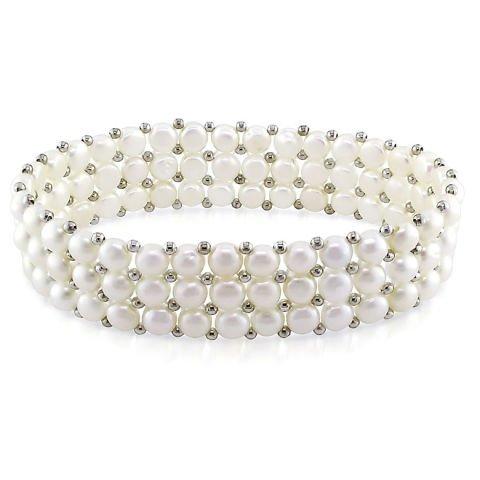 Bracciale di perle bianche