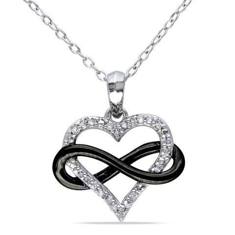 Silberanhänger in Herzform mit Diamanten