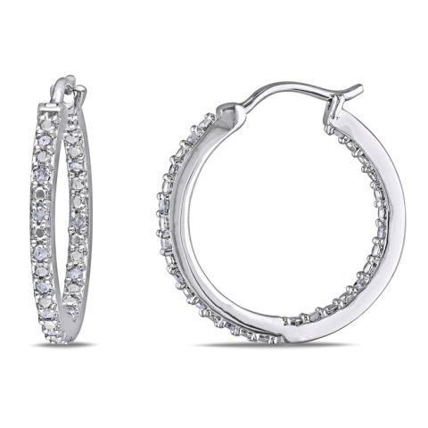 Silver and diamond earrings