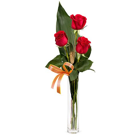 23 de Abril: 3 rosas rojas con senyera