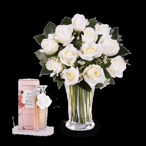 Essenza fiorita: 12 rose bianche e profumo