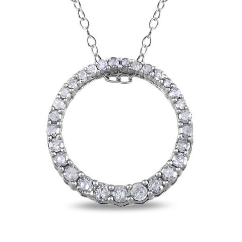 """Silver """"circle of life"""" pendant with diamonds"""