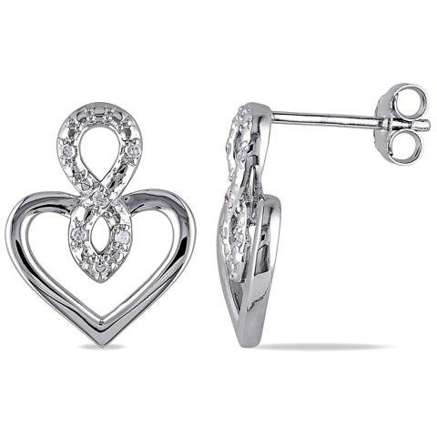 """Silver """"heart"""" earrings with diamonds"""