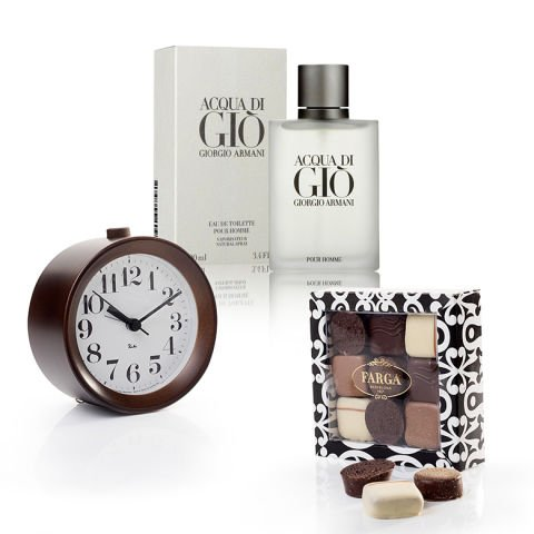 """'Sophisticated"""" pack with trio of gifts : perfume, chocolates and clock"""