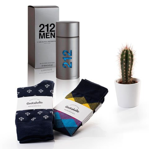 'Urban gift' pack for him : perfume, socks and plant