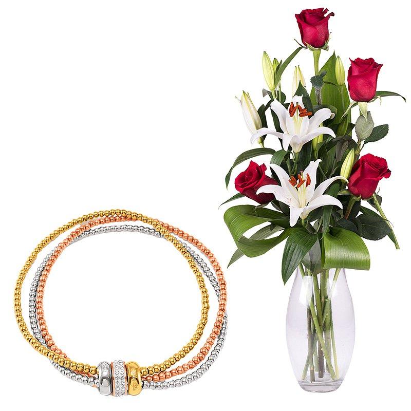 Envoi bouquet de roses et lys avec bijou floraqueen for Envoi bouquet