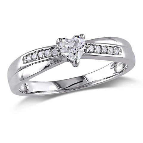 Silver sapphire and diamond ring