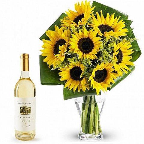 Odświeżająca Kompozycja: słoneczniki i białe wino