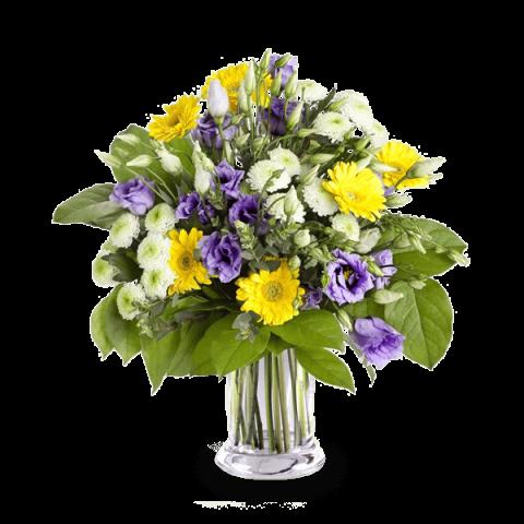 Nuages Violets : Lisianthus et Gerberas