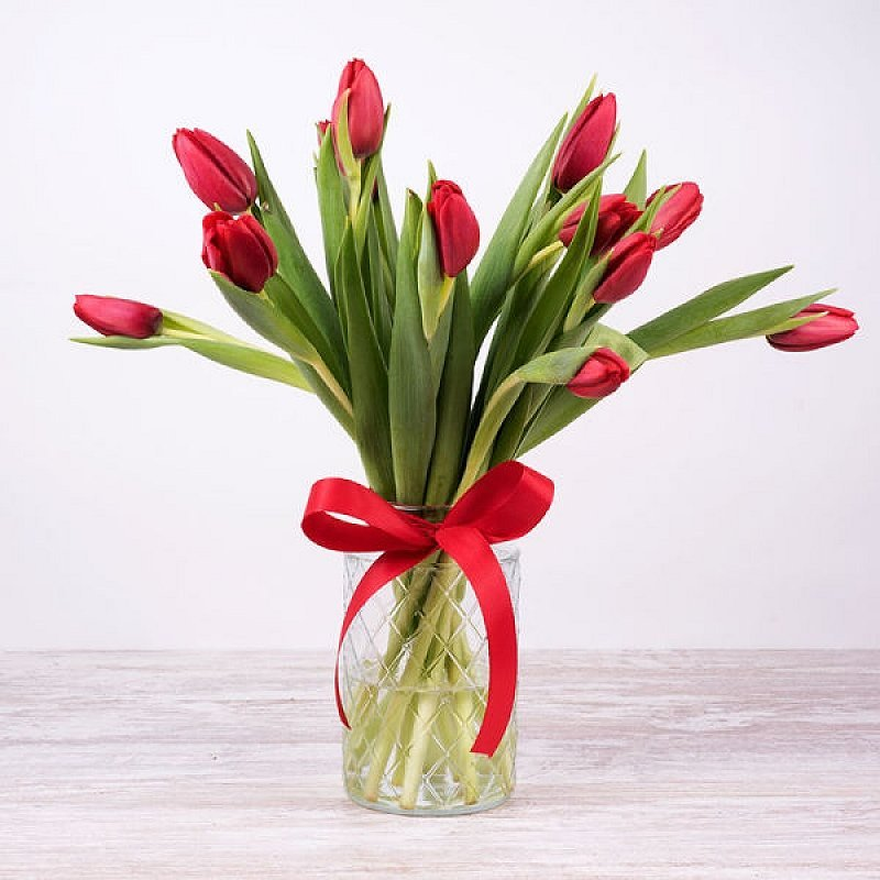 Dora - 10 tulipanes rojos