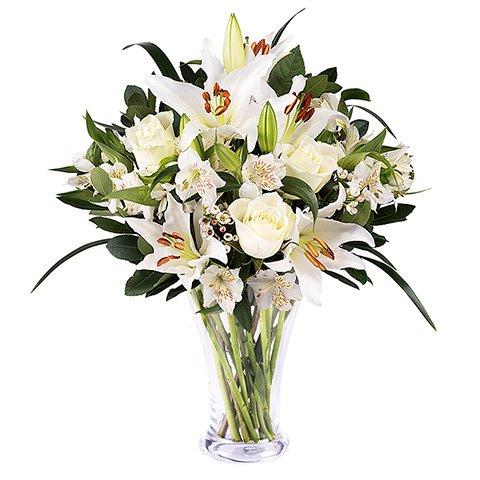 Lirios y rosas blancas + Jarrón GRATIS