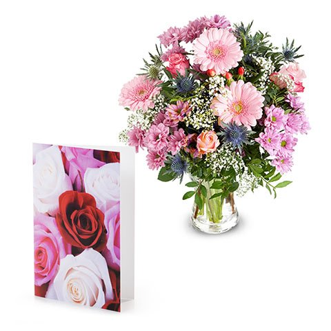 Blushing Pink: Pink Roses and Gerberas