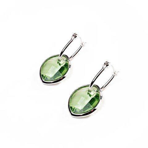 Earrings with green Swarovski crystals