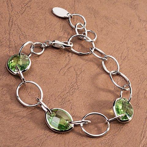 Armband mit grünen Swarovski-Kristallen