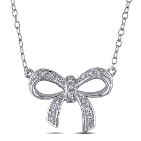 """Silver bow"" pendant with diamonds"