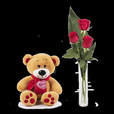 Serdeczny Uścisk: 3 czerwone róże i miś