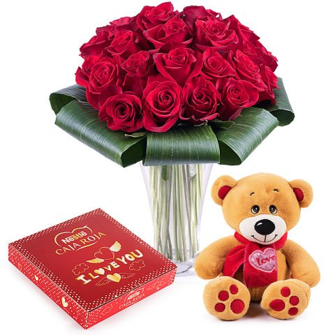 Gifts of Passion: red roses and chocolates