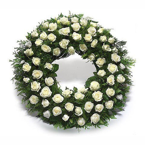 Precious Memories: White Rose Wreath