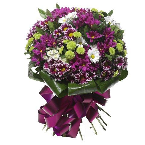 Purpurner Strauß: Gerbera & Chrysanthemen