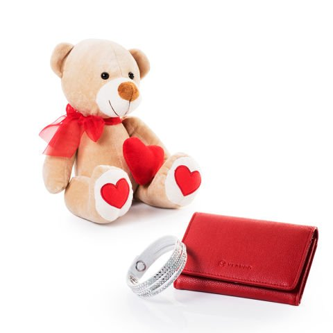 Vlando purse, Swarovski bracelet and soft teddy bear