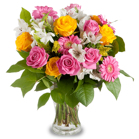 pink and yellow roses - colourful rose bouquet - floraqueen